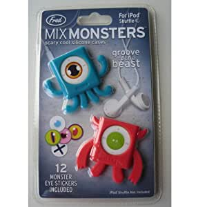 MIX MONSTERS iPod Shuffle 4G Cases - Red-Blue Set of 2