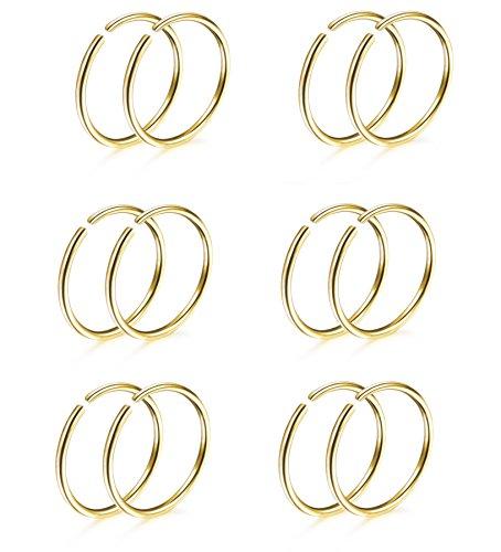 (Thuanaraz Thunaraz 6 Pairs Non Pierced Stainless Steel Fake Nose Ring Septum Lip Helix Cartilage Tragus Ear Clip Hoop Rings 20G Gold-tone)