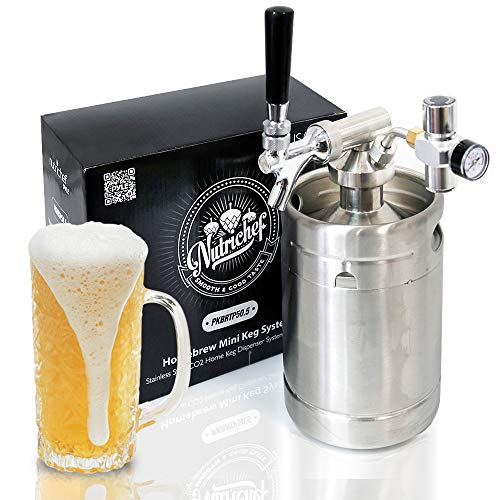 (Pressurized Beer Mini Keg System - 64oz Stainless Steel Growler Tap, Portable Mini Keg Dispenser Kegerator Kit, Co2 Pressure Regulator Keeps Carbonation for Craft Beer, Draft and Homebrew - NutriChef)