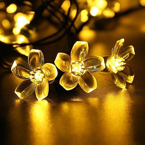 Qedertek Solar Flower String Lights Cherry Blossom 22ft