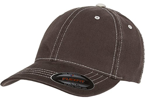 - Flexfit Original Contrasting Stitch Blank Hat Baseball Cap Fitted Flex Fit 6386 Small/Medium - Brown/Stone