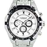 Curren White Case Stainless Steel Band Men Analog Wrist Watch (White)