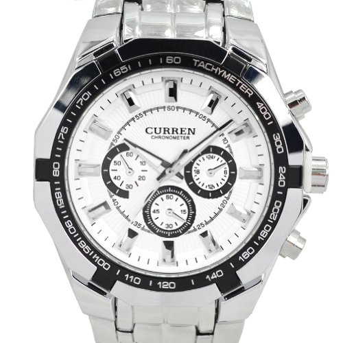 Curren White Case Stainless Steel Band Men Analog Wrist Watch (White) (Current Watch For Men)