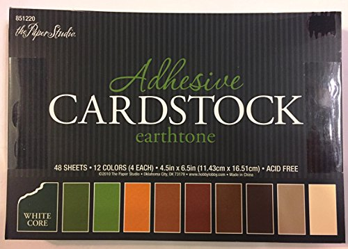 Earthtone Adhesive Cardstock 4.5x6.5 Inches, 48 sheets, White Core