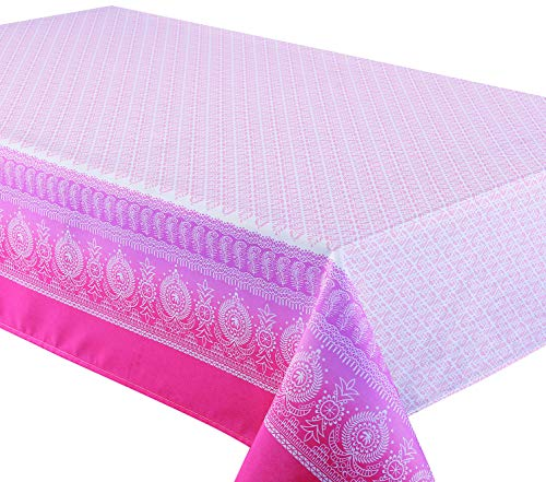 Polyester Tablecloth for Rectangle Tables, Ideal for Dinner Parties, Picnics, Special Occasions, Indoor & Outdoor Use, Machine Washable, Stain Resistant & Iron Free (Border Feather Rose, 58x108 Inch)