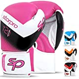 Boxing Gloves for Men & Women Training Sparring Kickboxing UFC MMA Muay Thai Pro Punching Fight Heavy Bag Mitts (Flour Pink/White, 14oz)