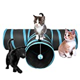 UHeng 3 Way Cat Tube Tunnel Bored Collapsible Pet Toy Tunnel with Ball