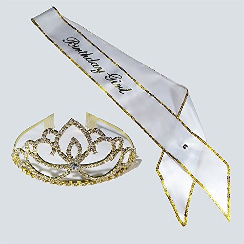 2 Pack Set of Gold Birthday Girl Satin Sash and Tiara - Perfect for Women Happy Birthday Party Supplies, Favors, Decorations 16th, 21st, 30th, 40th, 50th, 60th 90th (Birthday Girl Sash And Tiara)