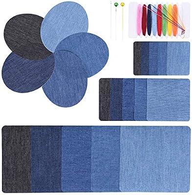 ... Hierro Parche de Mezclilla con Kit de Costura Reparación de Parches de Jean Elegante Anti-Abrasión para DIY Decorar Chaqueta Mochila Azul Negro