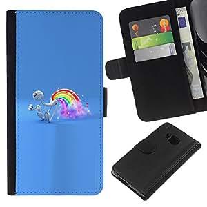 Protector de cuero de la PU de la cubierta del estilo de la carpeta del tirón BY RAYDREAMMM - HTC One M9 - Rainbow Pedo