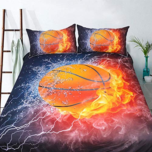 """Basketball Duvet Cover King 3D Sports Basketball Flame Decor Printed Bedding Duvet Cover with Zipper Closure for Kids Teens Boys Adults Soft Microfiber Bedding Set King Size90 x 103"""""""