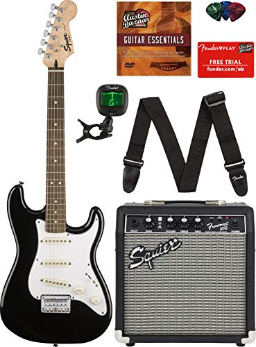 Squier by Fender Short Scale Stratocaster – Black Bundle with Frontman 10G Amp, Cable, Tuner, Strap, Picks, and Austin Bazaar Instructional DVD