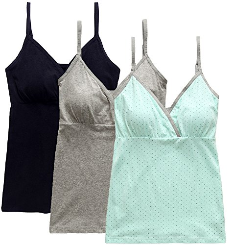 Nursing Tops Tank Shirts Cami for Maternity and Breastfeeding (Large: Fits for Weight 150-170 lb, Black+Grey+Light Green Dot (3Pcs))