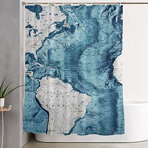MAHENSHANGM Atlantic Ocean Floor South America American Map Shower Curtain Durable Shower Curtains Decor Set 66 X 72 inch