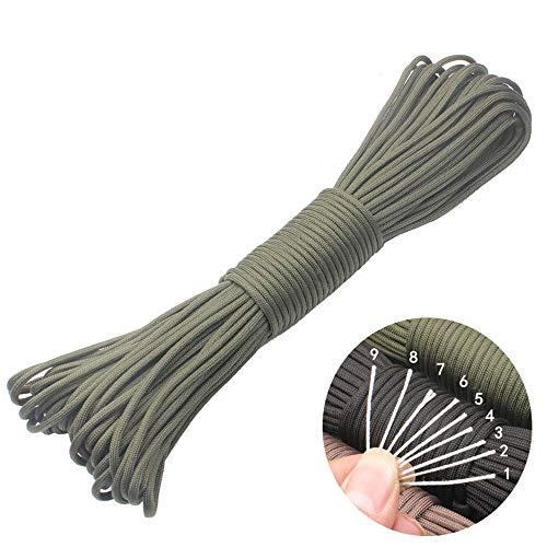 GeGeDa 550 Paracord Lanyard Parachute Cord Mil-Spec Commercial Grade 550lb Type III Outdoor Paracord 100 Feet 9 Strand Camping Rope ()