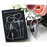 ZICOME Couple Theme Wine Bottle Wedding Combination Gift Set -- Adorable Engagement Gift & Return Present in Wedding Parties Enjoy responsibly & Creative Novelty Gifts for Wine Lovers