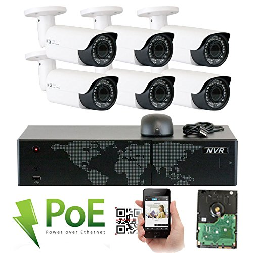 GW Security 8 Channel 4K NVR HD 1920P IP PoE Security Camera System with 6 Outdoor /Indoor 2.8-12mm Varifocal Zoom 5.0 Megapixel 1920P Cameras, QR Code Easy Setup, Remote Access View