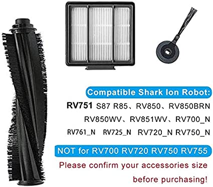 Replacement Parts Compatible for Shark ION Robot AV751 R85 RV850 S87 R75 RV851WV RV700/_N RV720/_N RV750/_N RV761 Sweep//Main Roller Brush HEPA Filter Protect Guard Vacuum Cleaners Accessories kits
