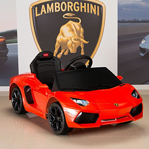 Lamborghini Aventador 6V Ride On Kids Battery Powered Wheels Car RC Remote w/ Mat and Keychain, Orange