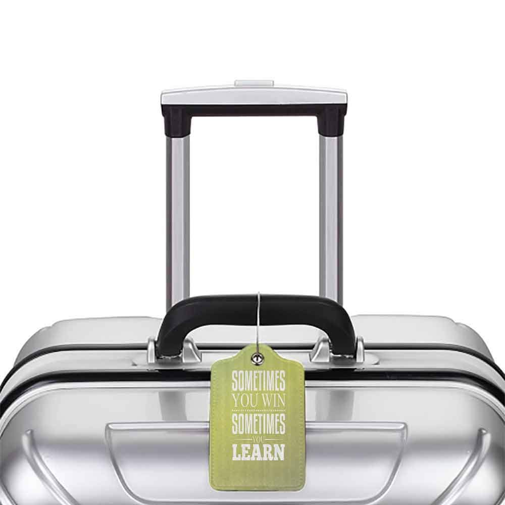 Personalized luggage tag Quotes Decor Collection Sometimes You Win Sometimes You Learn Font Typographic Motivational Text Image Easy to carry Light Green White W2.7 x L4.6