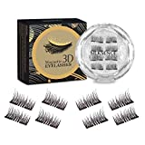SILKSENCE Dual Magnetic Eyelashes, 3D Reusable Magnetic Eyelashes, No Glue 0.2MM Ultra Thin Fake lashes for Ultra Soft Natural Look