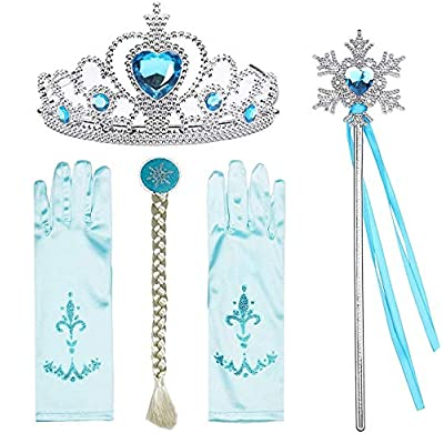 Cosplay Accessories Ice Princess Set,Crown, Tiara, Gloves, Magic Wand and Clip Braid Elsa Crown Blue (Light Blue Set): Clothing