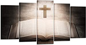 Kreative Arts Large 5 Panel Christian Jesus Cross Painting Print Poster Wall Art Sunshine Bible Book Vintage Paintings Rustic Home Decor Living Room Decoration Ready to Hang (Large Size 60x32inch)