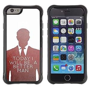 Suave TPU Caso Carcasa de Caucho Funda para Apple Iphone 6 / Be Better Man Suit Vignette White / STRONG