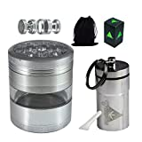 cool airtight jar - Cool Weed Crusher Set for Herbs and Tobacco: Large, 4pc, 3.25 inches Tall, Metal Grinder with Kief Catcher and Airtight Container, Smell Proof,Silver by Green-Der