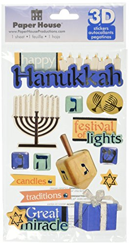 - Paper House Productions STDM-0201E 3D Cardstock Stickers, Hanukkah (3-Pack)