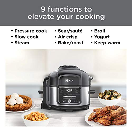 Ninja OS101 Foodi 9-in-1 Pressure Cooker and Air Fryer with Nesting Broil Rack, 5 Quart, Stainless Steel