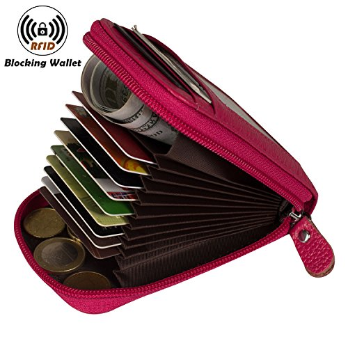 Leather Credit Card Organizer - Noedy RFID Blocking Credit Card Case Organizer Genuine Leather Zip-Around Security Wallet Rose Red