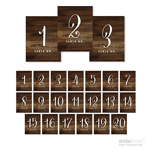 Andaz Press Table Numbers 1-20 on Perforated Paper, Single Sided, Rustic Wood Print, 4.25 x 5.5-inch Cardstock Sign, Single- Sided, 1-Set, for Weddings, Graduation