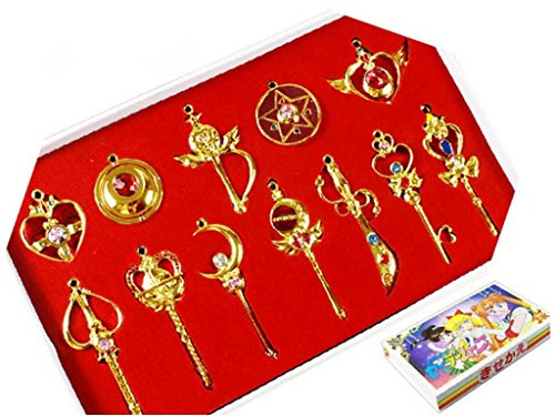 Sailor Moon Sailor Pretty Moon Guardian 12pcs Cosplay Keychain Necklace Toy,Golden,one size (Sailor Moon Costume Accessories)