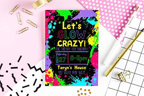 Glow In The Dark Invites (Neon Party Invitation - Glow in the Dark Party Invite - Glow Party)