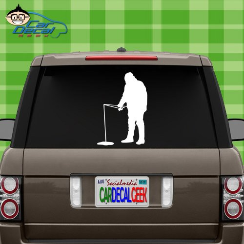 (Ice Fishing Vinyl Decal Sticker for Car Truck Window Laptop MacBook Wall Cooler Tumbler | Die-Cut/No Background | Multiple Sizes and Colors, 20-Inch, Black)