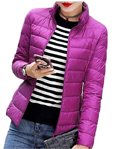 Purple Women's Casual Coats Down Puffer security Lightweight Packable Jackets TZqwxp