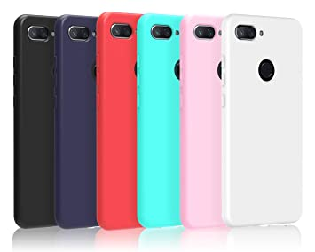 VGUARD 6 x Funda para Xiaomi Mi 8 Lite, Ultra Fina Carcasa Silicona TPU de Alta Resistencia y Flexibilidad (Negro, Azul Oscuro, Rojo,Verde, Rosa, ...