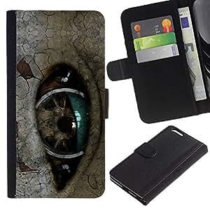 A-type (Ojo Robot) Colorida Impresión Funda Cuero Monedero Caja Bolsa Cubierta Caja Piel Card Slots Para Apple (5.5 inches!!!) iPhone 6+ Plus / 6S+ Plus