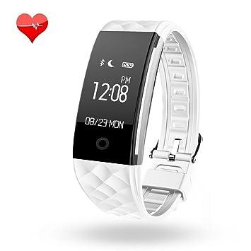 Pulsera inteligente con podómetro, monitor de sueño, contador de calorías, Bluetooth, para iPhone, Android, color blanco y plateado: Amazon.es: Deportes y ...