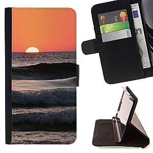 For Sony Xperia Z3 Compact / Z3 Mini (Not Z3) Case , Olas Peach Beach Surf sol del verano- la tarjeta de Crédito Slots PU Funda de cuero Monedero caso cubierta de piel