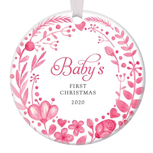 Baby Girl's First Christmas Ornament 2020 New Mommy & Daddy Baby Shower Newborn Daughter Present 1st Holiday Infant Girl Child Ceramic Keepsake 3
