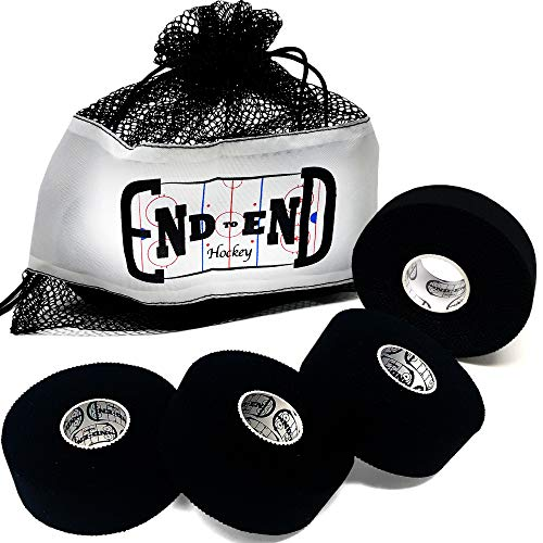 Hockey Stick Tape - 4 Pack of Cloth Black Hockey Tape - Great for Grip Tape, Street Hockey Sticks, Lacrosse Tape, Bat Tape, or any Black Athletic Tape - Includes Bonus Bag for Tape and Ice Hockey Puck ()
