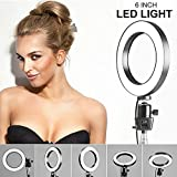 Webcam Light Stand, 6'' Ring Light with 2