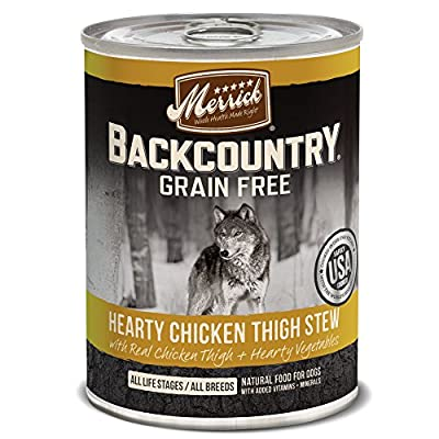Merrick Backcountry Hearty Chicken Thigh Stew Grain Free Wet Dog Food, Case Of 12, 12.7 Oz.