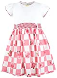 Lilax Girls' Short Sleeve Checked Rose Print Dress 5 Pink