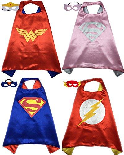 4 Pack Superhero or Princess CAPE & MASK SETS Kids Childrens Halloween Costumes (Wonderwoman Supergirl Superman (Supergirl Halloween)