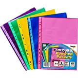 Tiger A4 50 coloured plastic wallets clear strong punched ring binder file pockets