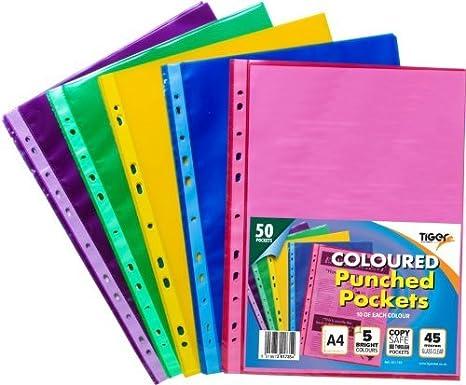 Tigre A4 50 Estuches de plástico, color claro fuerte perforadas archivador de bolsillos: Amazon.es: Oficina y papelería