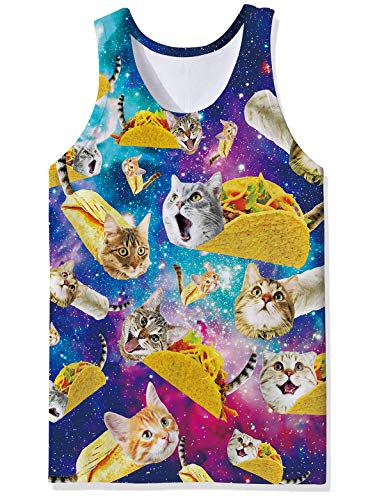 RAISEVERN Men's Tank Tops Workout Sleeveless Tee Cool Taco Cat Tee Galaxy Print Fitness Athletic Training Undershirts Cat Mens Tank Top